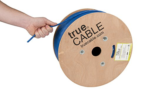 trueCABLE Cat6A Plenum (CMP), 1000ft, Blue, 23AWG 4 Pair Solid Bare Copper, 750MHz, ETL Listed, Unshielded Twisted Pair (UTP), Bulk Ethernet Cable