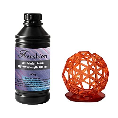 Actualice la resina de impresora 3D, fotopolímero estándar de 405 nm, resina rápida de curado UV, poco olor y curado rápido de alta precisión para impresión LCD 3D, 1 kg de color rojo
