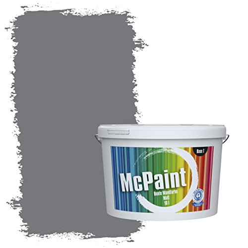 McPaint Bunte Wandfarbe matt für Innen Elefantengrau 10 Liter - Weitere Graue Farbtöne Erhältlich - Weitere Größen Verfügbar