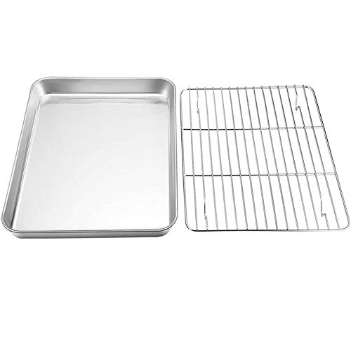 SANSHIYI Baking Sheet with Cooling Rack 23-50cm Lenth Stainless Steel Dishwasher Safe for BBQ Grill Baking Bun Drain Oil Easy Clean(23x17x2.5cm)