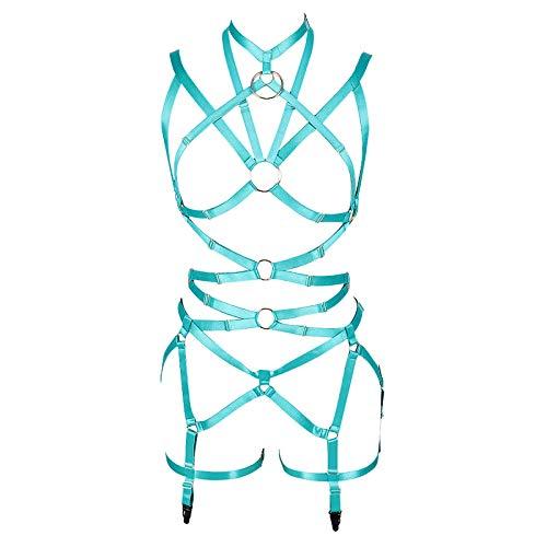 Women's Punk Cut Out Harness Body Full Strappy Lingerie Garter Belts Set Elasticity Goth Club Rave Wear (Jade Green)