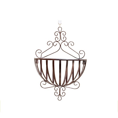 JJJJD Flower Stand Wrought Iron Wall Hanging Flower Pot Rack Indoor Living Room Balcony Hanging Flower Stand Bathroom Storage Rack, 34x20x53cm (Color : Bronze)
