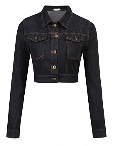 Womens Button Down Long Sleeve Black Cropped Denim Jean Jacket