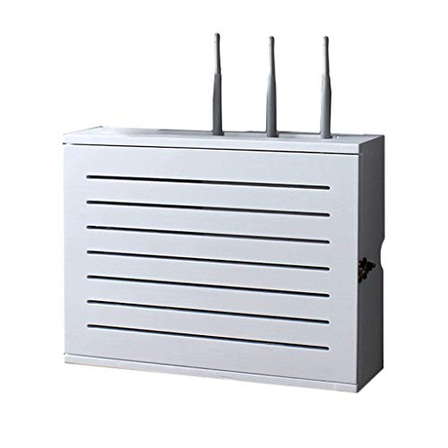 Witte Draadloze Router Opslag Plank Wandmontage Wifi Router Opbergdoos Socket Afscherming Draad Afwerking Draad Drijvende Plank