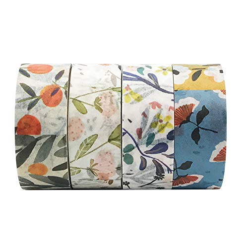 EnYan 4 Rolls Washi Masking Tapes Set Japanese Decorative Writable Rural Natural Summer Autumn Flower Tape for DIY Crafts Arts Scrapbooking Bullet Journal Planners