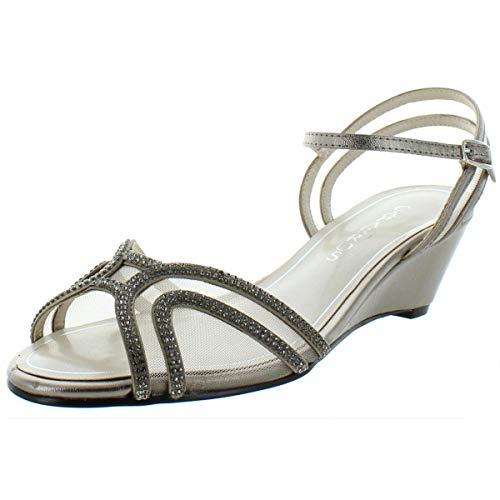 Caparros Womens Hilton Faux Leather Peep-Toe Wedge Sandals Taupe 8 Medium (B,M)