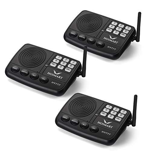 HOSMART Funk-Türsprechanlage für Zuhause oder Büro, mit Sicherheitssystem Funk und langer Reichweite, 1/2 Meile, 7 Kanäle(3Sections)