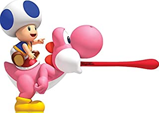 9 Inch Blue Toad on Pink Yoshi Super Mario Bros Wii Brothers Removable Wall Decal Sticker Art Nintendo Home Kids Room Decor Decoration - 9 by 6 inches