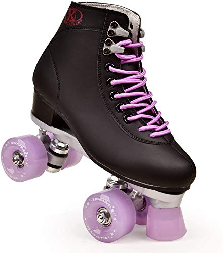 Men and Women Roller Skating Classic High-Grade PU Leather High-top Roller Skates Indoor and Outdoor Double Row Four-Wheel Roller Skates (Lavender,7)