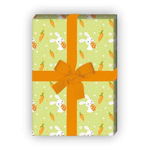 Kartenkaufrausch Grappig Pasen cadeaupapier set met paashaas en wortels voor mooie cadeau, verpakking 32 x 48 cm, 4 vellen om in te pakken voor verjaardagen, geboorte, Pasen, groen