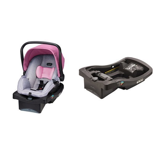 Evenflo LiteMax 35 Infant Car Seat, Azalea with LiteMax Infant Car Seat Base, Black