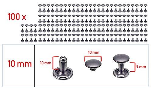 My Belt - 100 Stück Hohlnieten für Leder, Ledernieten 10mm Gunmetal, Doppelkappe Nieten, Gürtelnieten Kappe Schwarz