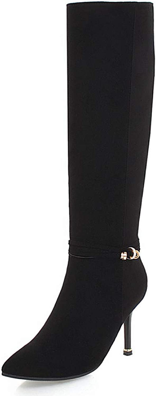 IDIFU Women's Stylish Metal Pointy Toe Date Wear Faux Suede High Stiletto Heel Knee High Booties with Side Zipper