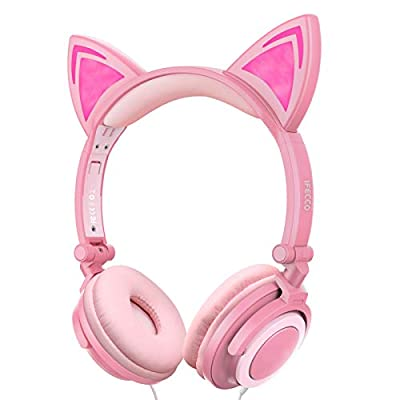 Amazon - Save 70%: Ifecco Kids Headphones with LED Glowing Cat Ears, Safe Wired Kids Headsets 85dB…