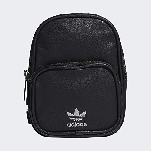 adidas Originals Mochila unisex de piel sintética Mini, Unisex, Mochila, 977344, Negro y plateado., Talla única