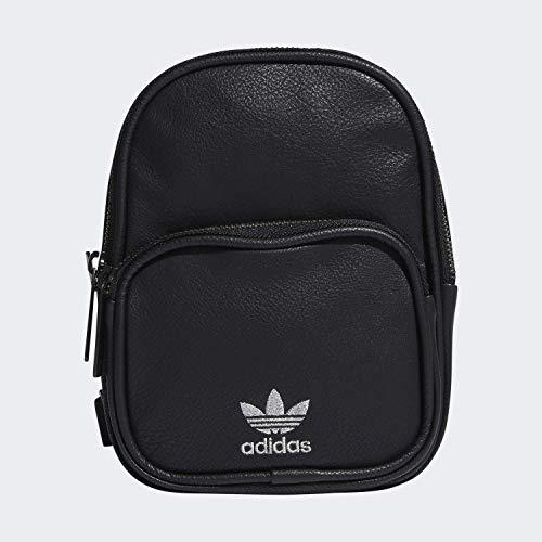 adidas Originals Unisex Mini-Rucksack aus PU-Leder für Erwachsene, Unisex-Erwachsene, Rucksack, Originals Mini Pu Leather Backpack, schwarz/silber, Einheitsgröße