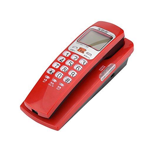 Vbestlife Teléfono Fijo con Cable, Identificador de Llamadas, Agenda de 30 Números, Una Llamada Clave, Volumen Regulable, Antiinterferencia, Botones de Vidrio, para Casa/Oficina/Hotel(Rojo)