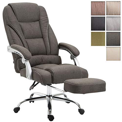 Bürostuhl Pacific mit Stoffbezug | Schreibtischstuhl mit Laufrollen | Relaxsessel mit ausziehbarer Fußstütze | Max. Belastbarkeit 150 kg, Farbe:dunkelgrau