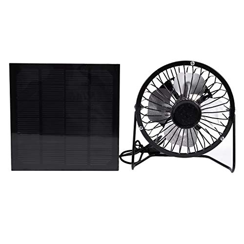 TOOGOO Hohe Qualitaet 4 Zoll Kuehlung Luefter USB Solar Panel Eisen Fan Fuer Home Office Outdoor Reisen Angeln