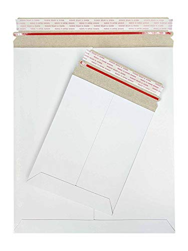 MMBM Photo Document Mailers, 9.75x12.25 Inch, 200 Pack, White, Stayflats, Rigid Cardboard Envelope Shipping Stay Flats, Self Peel & Seal