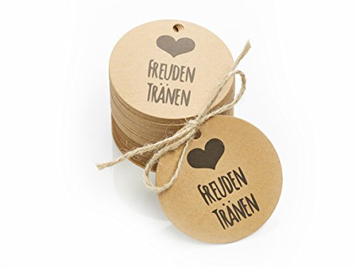 TIME FOR FIESTA MY-PIÑATA PIÑATAS & MORE 100 Stück Freudentränen Anhänger für Taschentücher oder Tüten auf Hochzeiten | Umweltfreundliche Verpackung für Freudentränen Taschentücher