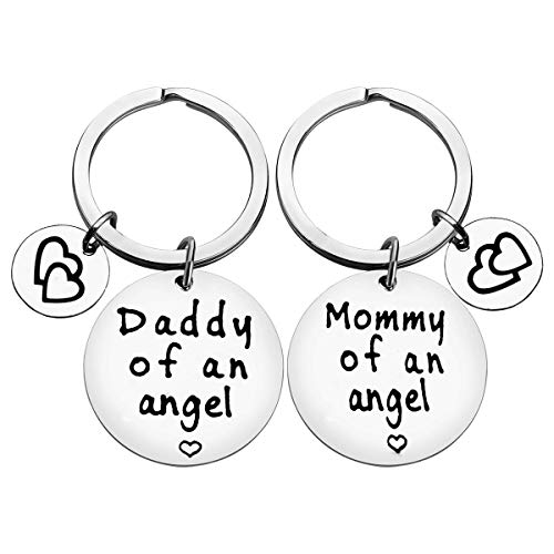 Loss Memorial Keychain Gifts Mommy of an Angel Daddy of an Angel Keychain Set Miscarriage Keychain GiftsBaby Memorial Gifts In Memory of Infant Loss Jewelry