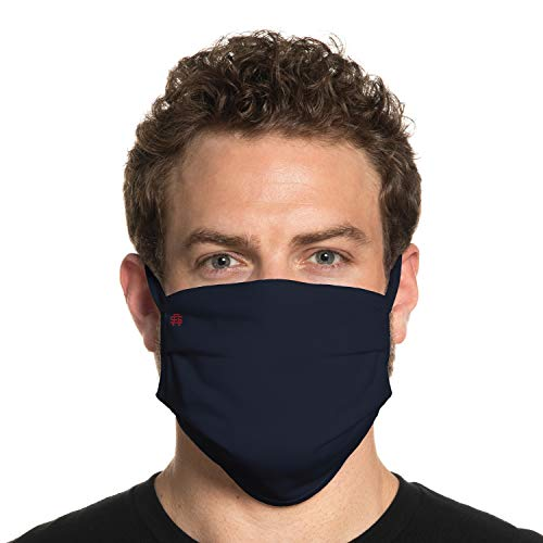 Secret Artist XLarge to 2XL Cloth Face Mask. Navy Blue Reversible Black Cloth Face Mask. Washable and Reusable- Face Covering for Germs, Dust and Pollen. Easy Wash and Dry. Proudly Made in USA!
