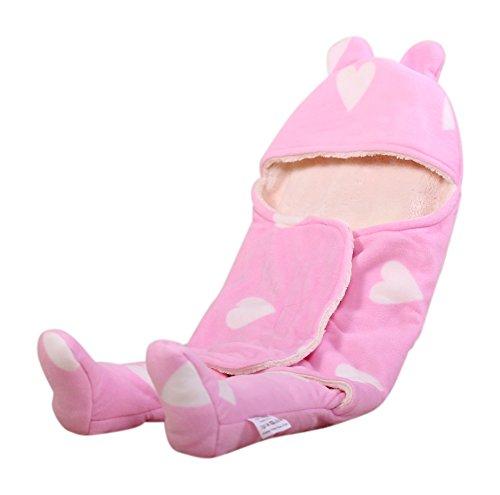 Ambrosya®   Kuschelweicher Strampler für Babys aus Fleece   Baby Babydecke Babystrampler Bett Bettdecke Erstlingsdecke Jahreszeiten Kinderdecke Kissen Kuscheldecke Strampler Tagesdecke (Rosa)