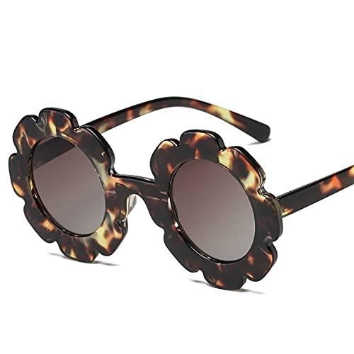 FDNFG Gafas de Sol Redondo Flor Gafas de Sol UV400 Gafas de Sol Chica Chica Gafas de Sol (Lenses Color : C6 White f Blue)