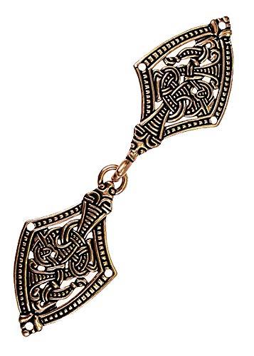 Battle-Merchant Wikinger Gewandschließe im Borrestil Gewandschließe Mystische Brosche Wikinger Gewandschmuck Fibel (Bronze)
