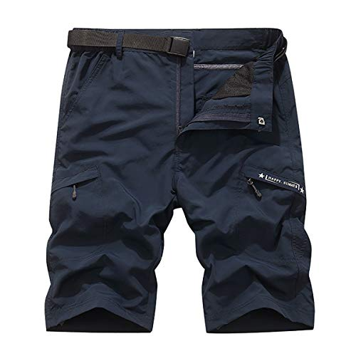 TILPAWOGGA Mens Outdoor Stretch Expandable Waist Quick Drying Shorts Lightweight Summer Cargo Shorts Navy Blue