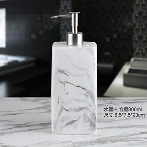 SDOPHH dispensador de desinfectante de Manos dispensador de jabón 400/500 / 800ml Resina Creativa Textura de mármol Botella de jabón de Mano depósito de jabón de hotel-800ml C