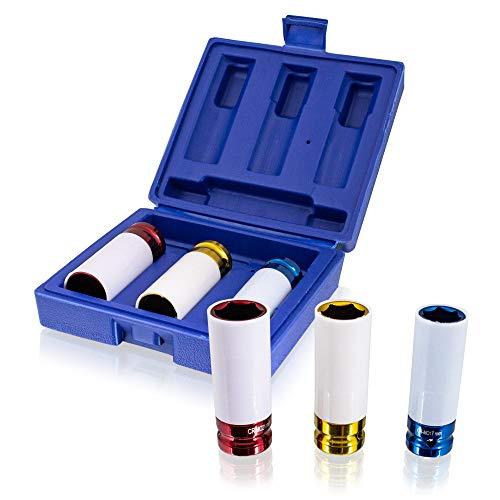 BITUXX 3 tlg Schlagnuss Set Steckschlüssel Nuss Kfz Radwechsel Pkw für Schlagschrauber oder Drehmomentschlüssel Aufnahme 1/2
