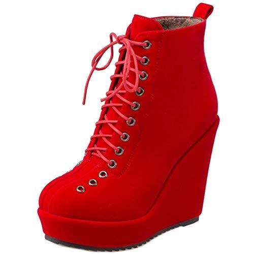 BeiaMina Mode Damen Stiefeletten Keilabsatz Knochel Stiefel Heels Party Kurzschaft Stiefel Plateau Winterschuhe Schnüren Red Asian Gr 39