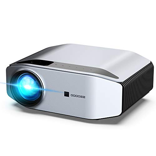 GooDee Portable Outdoor Movie Projector – Native 1080P Home Theater Video Projector, Full HD LCD 300 Inch, contrast 7000:1 with 100,000 Hrs Lamp Life, Compatible with PC, PS4, TV Stick, HDMI, YG620