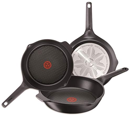 Tefal Aroma - Juego de 3 sartenes: Sartenes de 22, 24 y 26 cm de aluminio fundido y titanio, sartenes antiadherentes, tecnología Thermospot, cocción uniforme, todo tipo cocinas, sin PFOA, color negro