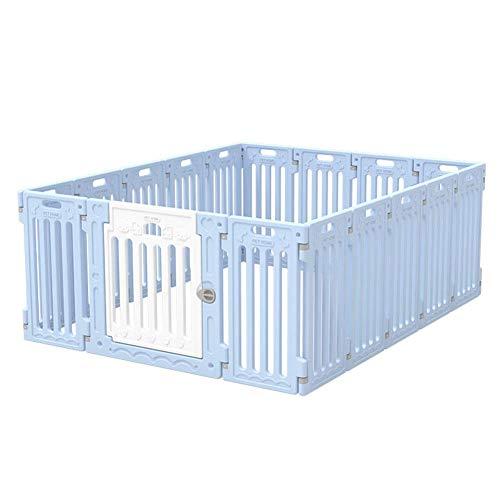 GBY Haustierzaun Hundekäfig, Faltbarer Haustierzaun, Haustierisolationszaun, geeignet für große, mittlere und kleine Hunde, blau, 140 * 210 * 65 cm