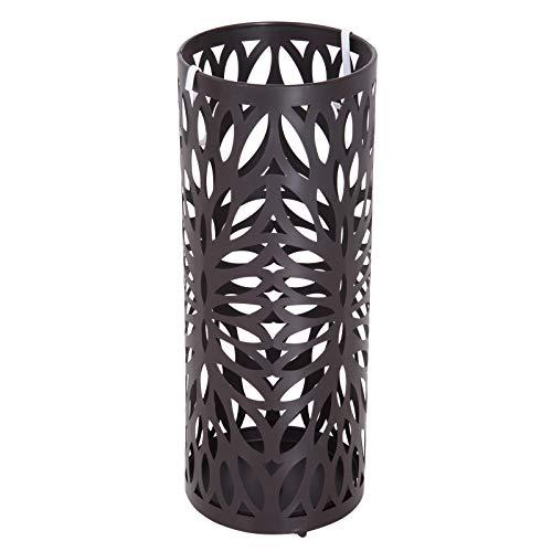 homcom Portaombrelli Design Moderno con 2 Ganci e Salvagoccia, Metallo, Marrone, Φ19,5x50 cm