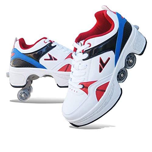 2 in 1 Adult Roller Skate, Invisible Quad Roller Skates, Detachable Inline Skates, Kick Rollers Shoes Skates Retractable Adult,Heel Skates for Kids,Sports/Outdoor Recreation Parkour Shoes