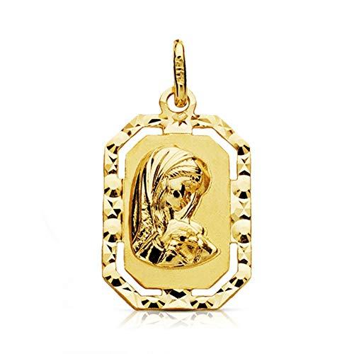 Medalla Oro 18K Virgen Niña 20mm. Forma Octogonal Borde Tallado Centro Detalle Calado - Personalizable - Grabación Incluida En El Precio