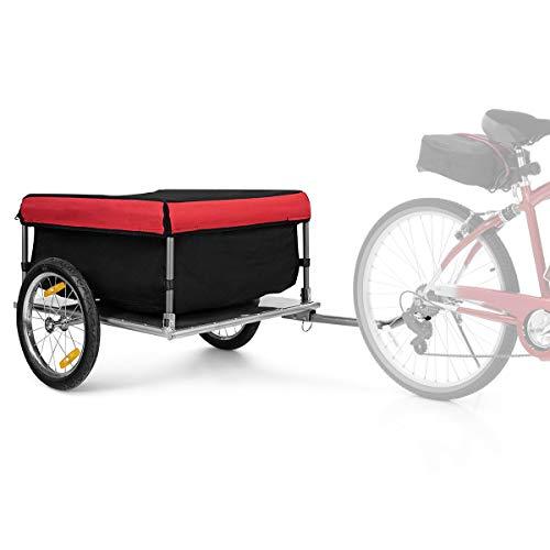 """Costway 16"""" Remorque pour Vélo/Bicyclette, Remorque à Bagages avec Cadre en Métal Pliable - Fait en Polyester - Grande L75 x l60 x H36CM"""
