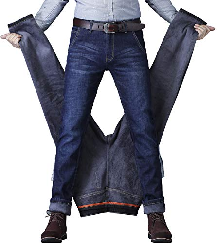 CLOTPUS Men' Fleece Lined Skinny Jeans Winter Slim Fit Thicken Warm Stretch Pants Blue 30