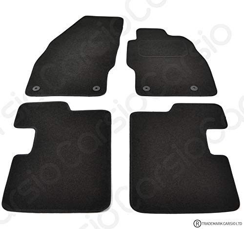 Carsio Tailored Black Carpet Car Mats for Corsa D 2007 to 2014-4 Piece Set With 4 Clips