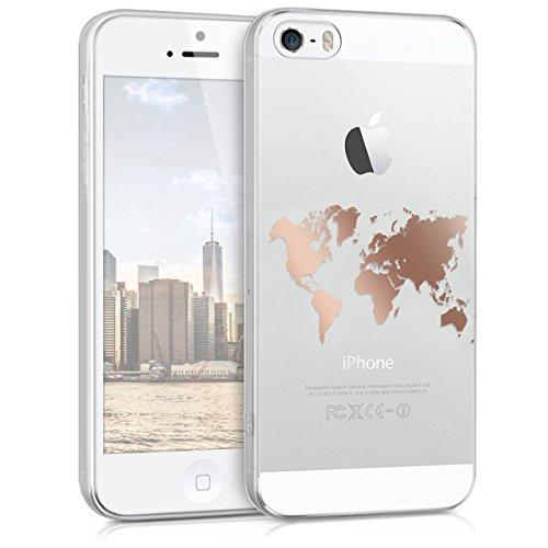 kwmobile Cover Compatibile con Apple iPhone SE (1.Gen 2016) / 5 / 5S - Back Case Custodia Posteriore in Silicone TPU per Smartphone - Backcover Contorni Oro Rosa/Trasparente