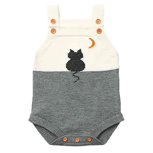 ANIMQUE Baby Stricke Body 3-6 Monate Neugeborene Jungen Mädchen Latzhose Strampler, Kätzchen Weiß Grau - 80