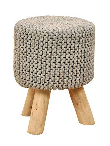 casamia Sitzhocker Strick-Hocker Pouf Schemel Ø 35 cm Höhe 45 cm mit Holzfüßen viele Farben Farbe hellgrau
