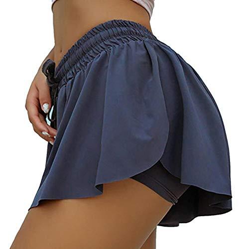 Women \'S Butt Scrunch Skirted Yoga Shorts Laufen Radfahren Biker Shorts Frauen Marathon Quick Dry Shorts Fitnessstudio Sport Shorts M Blau