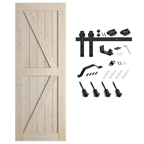 SMARTSTANDARD 30in x 84in Sliding Barn Door with 5ft Barn Door Hardware Kit & Handle, Pre-Drilled Ready to Assemble, DIY Unfinished Solid Spruce Wood Panelled Slab, K-Frame
