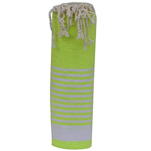 LES POULETTES Fouta Handtuch Baumwolle Neon Gelb Farbe Weiß Band und Kleiner Streifen 100 x 200cm