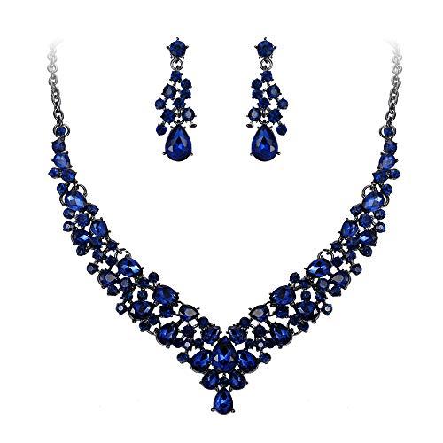 EVER FAITH Women's Crystal Wedding Bridal Teardrop Cluster Necklace Earrings Jewelry Set Navy Blue